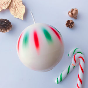 sphere candle red n green